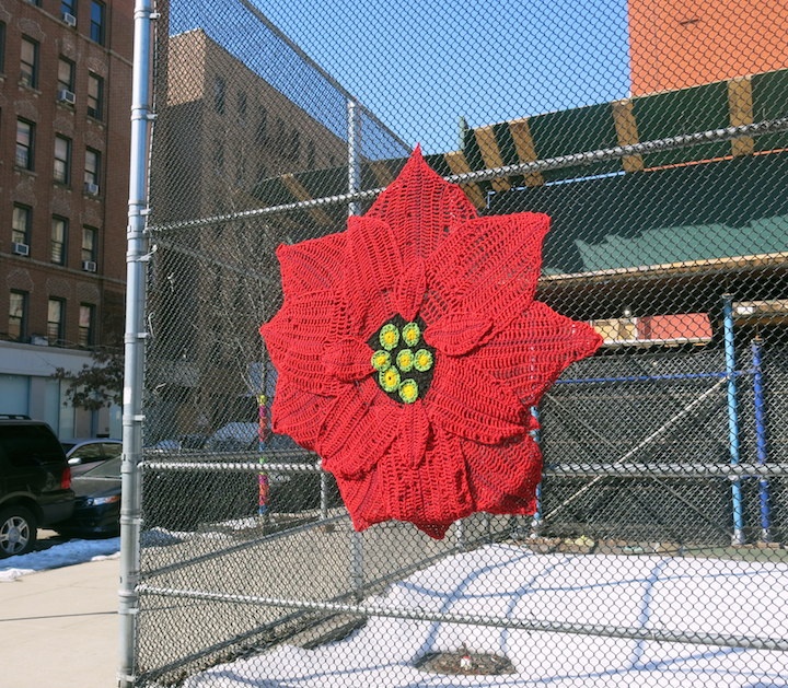 naomi RAG street art yarn bomb east harlem New Years Eve Pointsettia nyc Fiber Artist Naomi RAG Yarnbombs East Harlem