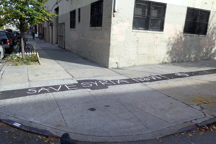save syria now NYC Pavement Art    from the Poetic to the Political: Hunt Rodriguez, stikman, Chris and Veng RWK, Anthony Lister and more