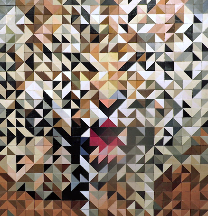 Jamie Martinez art Leopardo oil on wood  Jamie Martinezs Triangulism Art in <em>Hunt for Inspiration</em> Continues until April 23 at Chelseas Galerie Protégé