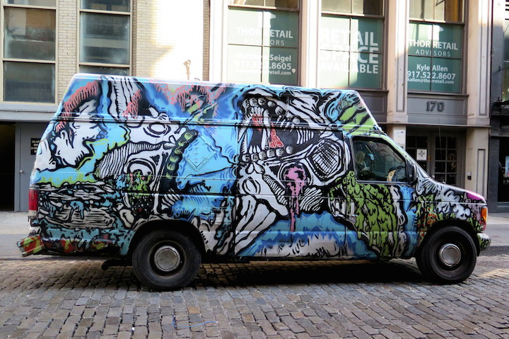 Keely and Deeker art on van NYC NYC's Stylish Trucks & Vans – from the Whimsical to the Wild, Part XII: Cern, CashRFC, Keely, Cone, YNN, NME, Frank Ape and more