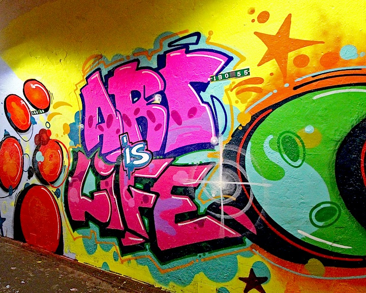 Cope2 graffiti Art Is Life Mural Art Beautifies the 191st Street Subway Tunnel and Entrance with: Queen Andrea, Jessie and Katey, RRobots, Cekis and Cope2