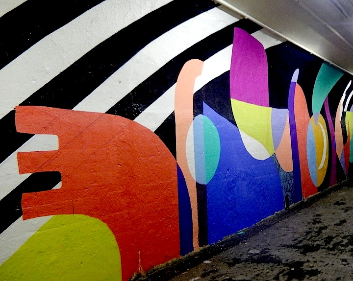 Jessie katey abstract art DOT Mural Art Beautifies the 191st Street Subway Tunnel and Entrance with: Queen Andrea, Jessie and Katey, RRobots, Cekis and Cope2