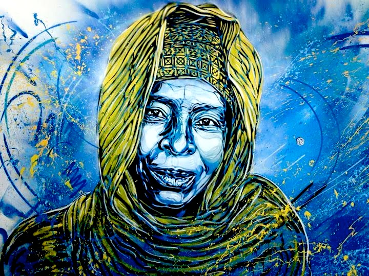 C215 stencil Morocco Street Art NYC at <em>Main Street</em> at the Museum Mohamed VI with C215, Case Maclaim, Tilt, Ron English, Miss Van and Simo Mouhim