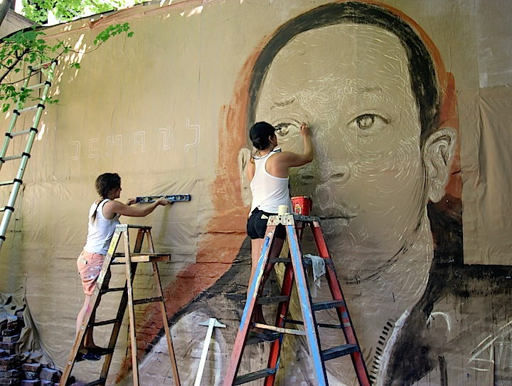 Gilf LMNOP at work Henley NYC DEMAND JUSTICE: A Collaborative Mural by LMNOPi and GILF! in Tribute to Kalief Browder at Henleys Backyard Garden