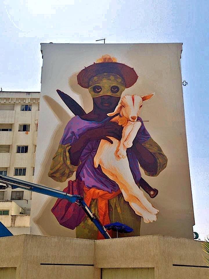 Inti street art Festival Rabat Street Art NYC at <em>JIDAR Toiles de Rue</em> in Rabat, Morocco with: Inti, Cisco, Kalamour, Jaz, Maya Hayuk, Simo Mouhim and Zepha