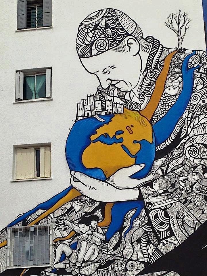 Kalamour street art festival Rabat Street Art NYC at <em>JIDAR Toiles de Rue</em> in Rabat, Morocco with: Inti, Cisco, Kalamour, Jaz, Maya Hayuk, Simo Mouhim and Zepha