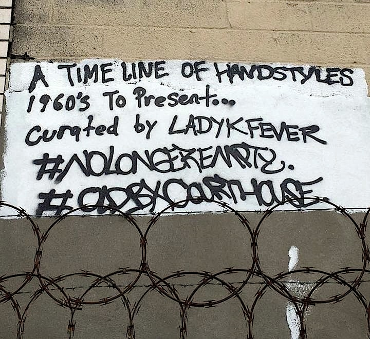 Timeline LadyK <em>No Longer Empty</em> Presents <em>A Timeline of Handstyles: Signatures from the 1960s to Present Day</em> Across from Old Bronx Borough Courthouse