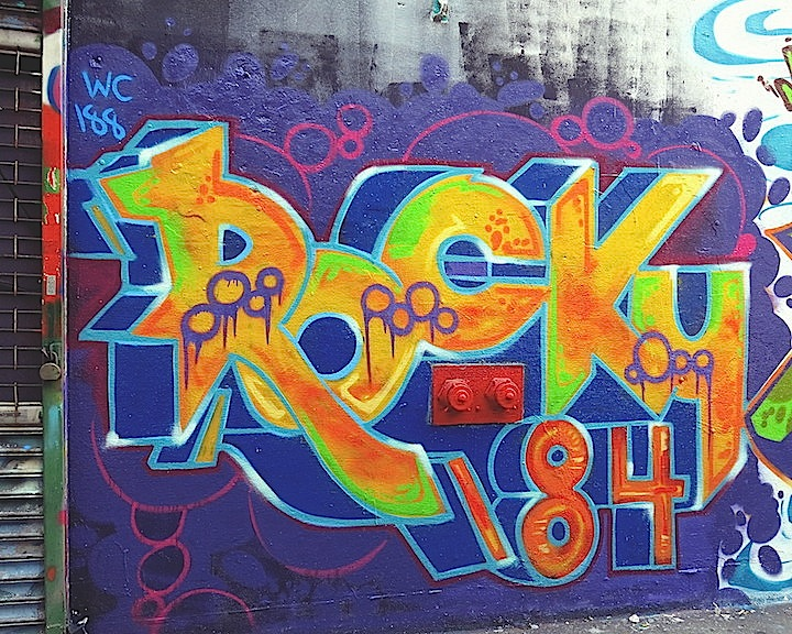rocky184 graffiti inwood nyc At Manhattans Uptown Open Air Gallery with Trans1, Noir, Ree, Rocky184, Keon1 and T Kid170