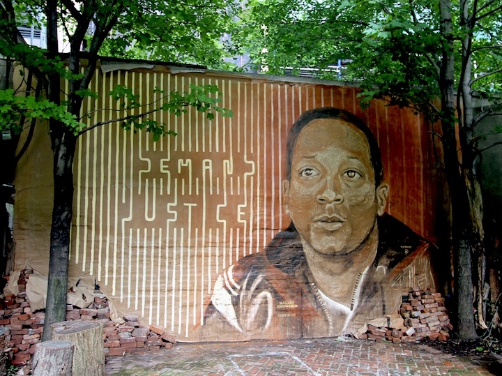 LMNOP and gilf DEMAND JUSTICE: A Collaborative Mural by LMNOPi and GILF! in Tribute to Kalief Browder at Henleys Backyard Garden