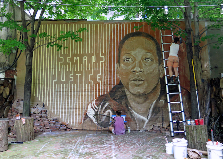 gilf LMNOPi mural art Henley Vape NYC1 DEMAND JUSTICE: A Collaborative Mural by LMNOPi and GILF! in Tribute to Kalief Browder at Henleys Backyard Garden