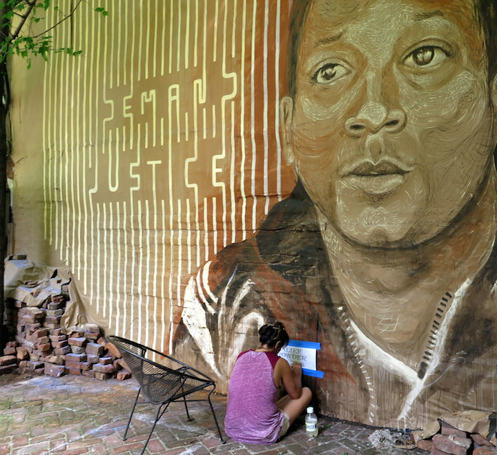 gilf lmnopi Kalief Browder mural Henley NYC DEMAND JUSTICE: A Collaborative Mural by LMNOPi and GILF! in Tribute to Kalief Browder at Henleys Backyard Garden