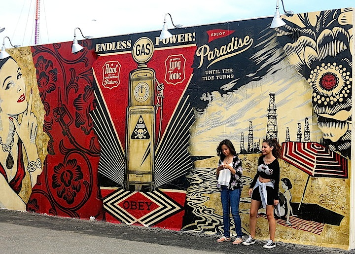 shepard fairey street art coney art walls Politically and Socially Conscious NYC Street Art, Part II: Caleb Neelon & Katie Yamasaki, Shepard Fairey, Kesley Montague, Icy & Sot, Chris Stain & Josh MacPhee, David Shillinglaw & Lily Mixe
