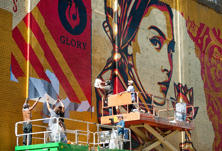 Shepard Fairey street art Jersey City Shepard Fairey Paints Huge Mural for Mana Contemporary in Jersey City