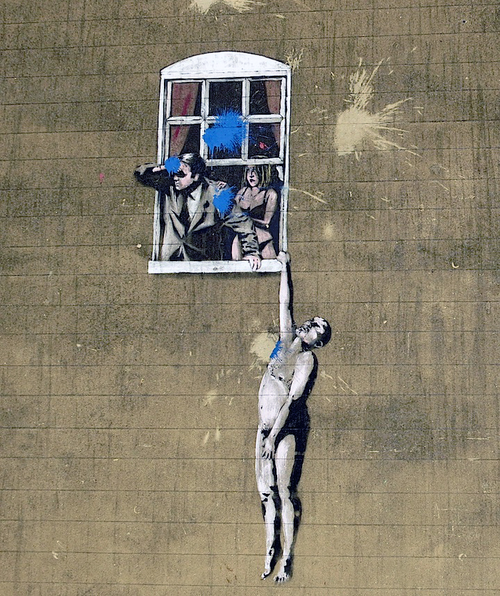 banksy well hung lover stencil art bristol Street Art NYC in Bristol: Sepr, Nick Walker, Banksy, Philth, N4T4, Jody Thomas, Epok and Soker
