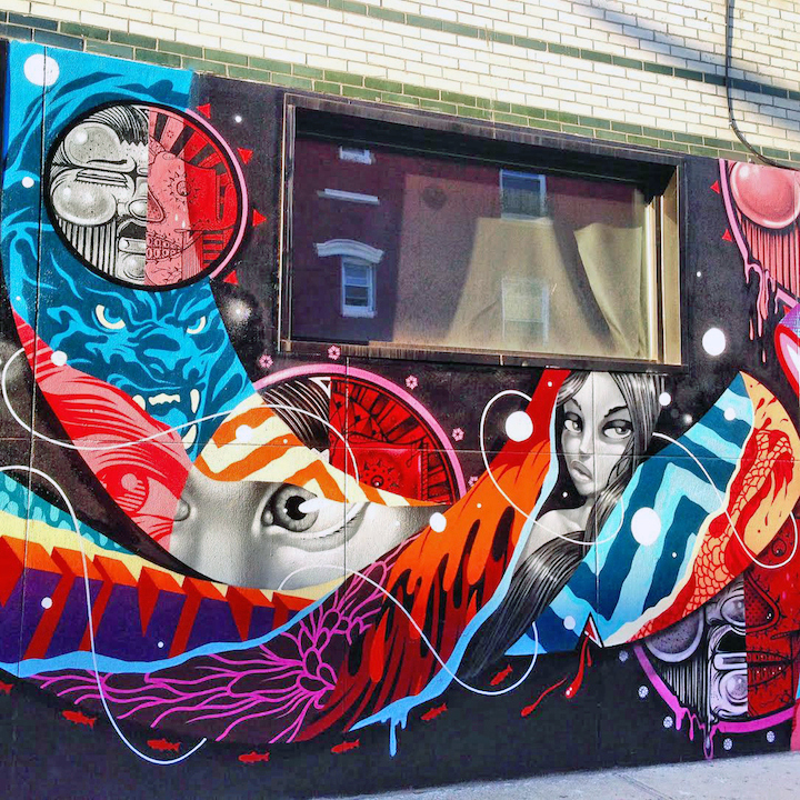 how and nosm and tristan eaton street art nyc Faces in NYC Public Spaces, Part X: Owen Dippie, Ryan Gander, Alice Mizrachi, How & Nosm with Tristan Eaton, ECB, Crisp, Chris Soria with Joel Artista and Caratoes