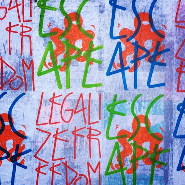 sp38 escape legalize freedom urban poetry the quin NYC <em>Escape (Legalize Freedom)</em>: French Street Artist, Painter and Performer SP38 Brings His Iconic Urban Poetry to the Quin