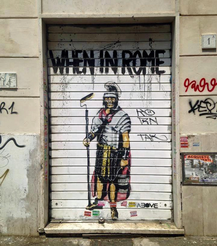 Above street art Rome Street Art NYC in Romes San Lorenzo Neighborhood: Alice Pasquini, C215, Solo, Broken Fingaz, Above and more