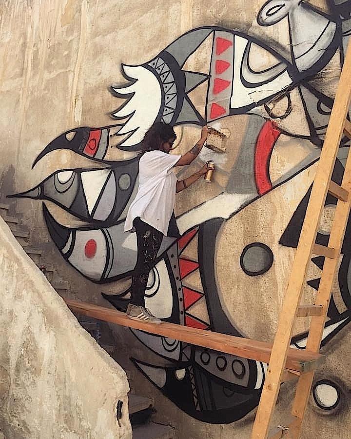 Fathima- Mohiuddin-paints-street-art-Jordan