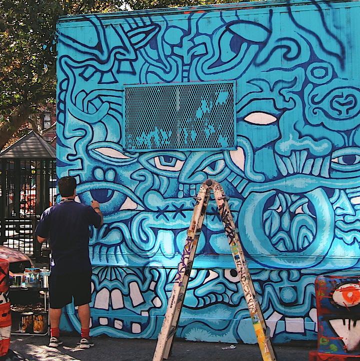 andy golub paints centrefuge public art project nyc Centre fuge Public Art Project, Cycle 18 with: Andy Golub, Key Detail with Yu Baba, Rez Shaolin, Below Key, Leon Rainbow, Zero Productivity and Mr. Never Satisfied