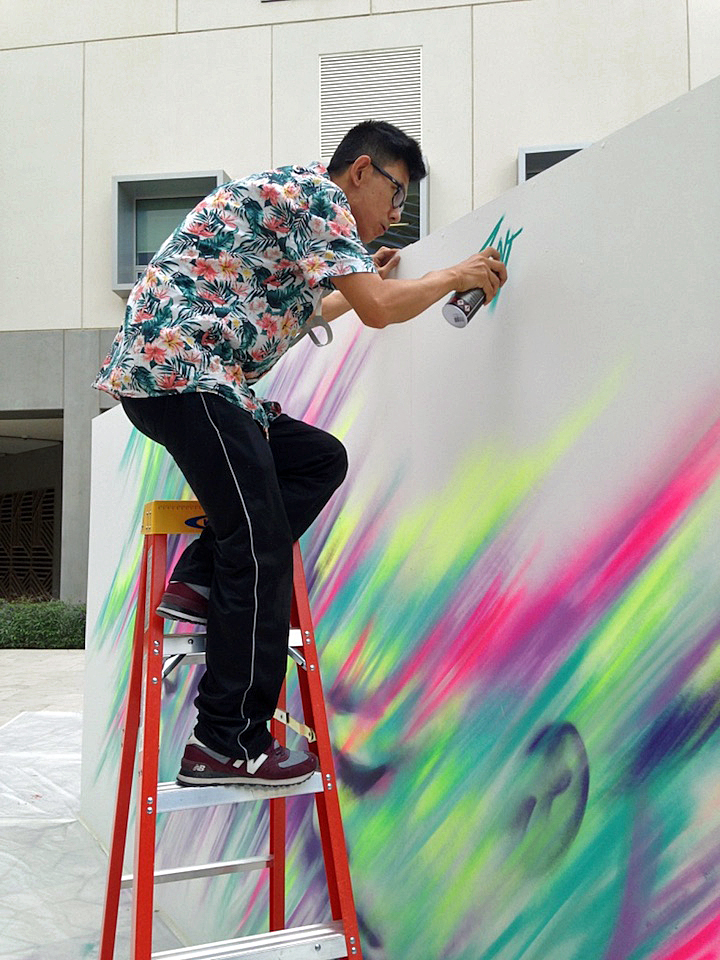 Enforce one live street art NYU Abu Dhabi  Houda Lazrak Curates NYU Abu Dhabi First <em>Live Painting Event</em>: Fats, Steffi Bow, SyaOne, Enforce1 and Just1