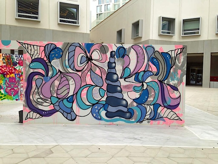 Steffi Bow street art NYU Abu Dhabi  Houda Lazrak Curates NYU Abu Dhabi First <em>Live Painting Event</em>: Fats, Steffi Bow, SyaOne, Enforce1 and Just1