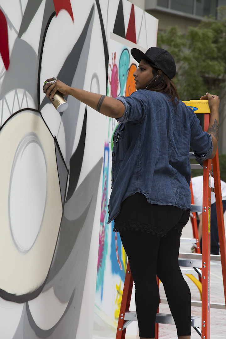 fathima Mohiuddin aka fats live art nyu Abu Dhabi  Houda Lazrak Curates NYU Abu Dhabi First <em>Live Painting Event</em>: Fats, Steffi Bow, SyaOne, Enforce1 and Just1