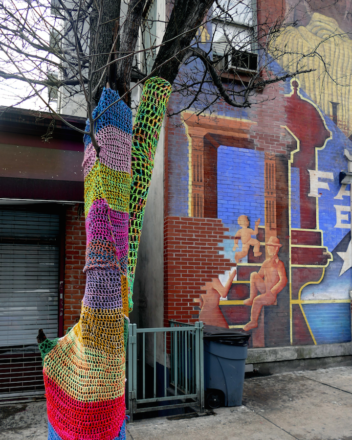 Naomi rag yarn bomb East Harlem NYC Fiber Artist Naomi RAG Brings Flavor and Flair to East Harlem Trees
