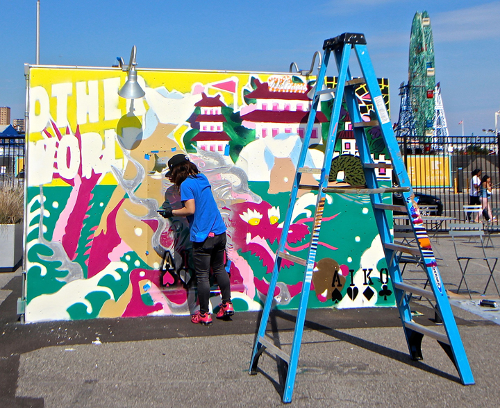 Lady aiko paints coney island Coney Island Public Art Wall Project Returns This Weekend with: Tats Cru, Icy and Sot, Lady Aiko, Eric Haze, Pose, Mister Cartoon, Daze, Crash, John Ahearn, Nina Chanel and more