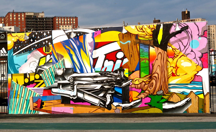 Pose mural art coney art walls Coney Island Public Art Wall Project Returns This Weekend with: Tats Cru, Icy and Sot, Lady Aiko, Eric Haze, Pose, Mister Cartoon, Daze, Crash, John Ahearn, Nina Chanel and more