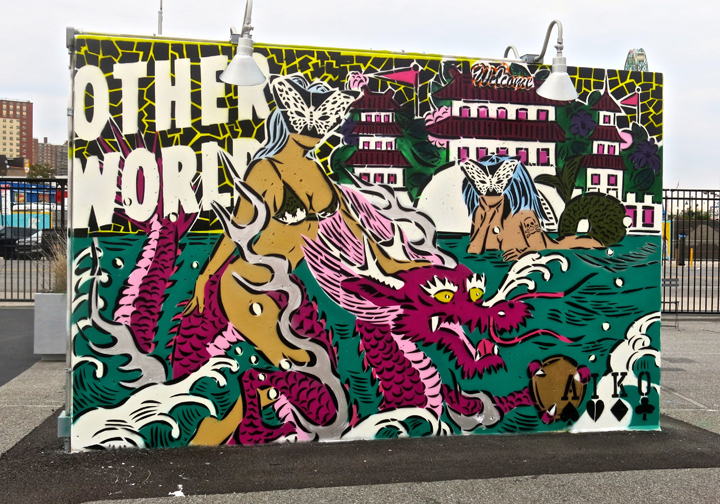 lady aiko other world Coney Island Public Art Wall Project Returns This Weekend with: Tats Cru, Icy and Sot, Lady Aiko, Eric Haze, Pose, Mister Cartoon, Daze, Crash, John Ahearn, Nina Chanel and more