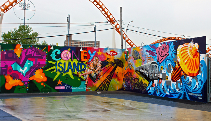 tats cru mural coney art walls nyc Coney Island Public Art Wall Project Returns This Weekend with: Tats Cru, Icy and Sot, Lady Aiko, Eric Haze, Pose, Mister Cartoon, Daze, Crash, John Ahearn, Nina Chanel and more