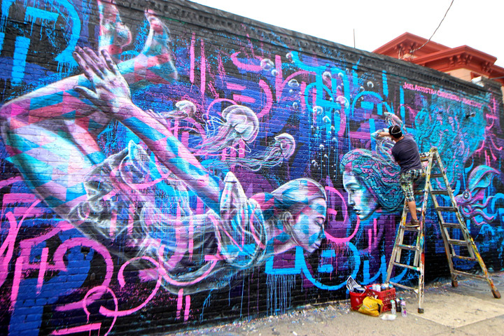 joel artista and marc evans and chris soria street art welling court mural art At Welling Courts 7th Annual Block Party: Lady Pink, Caleb Neelon, Katie Yamasaki, Fumero, Mike Makatron, Dirt Worship, Erasmo, Chris Cardinale, Joel Artista, Chris Soria, Marc Evan, Pyramid Guy & more