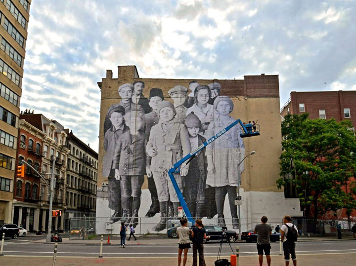 "JR Ellis Island street art tribeca NYC edited 1 JR's ""Unframed, Ellis Island"" Installed at DDG's 100 Franklin Street"