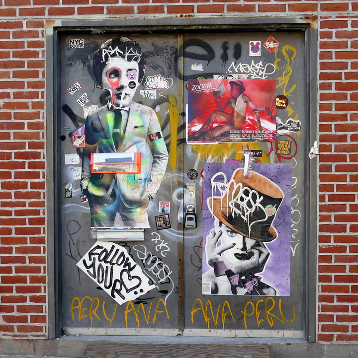 dain and dee dee street art nyc NYC's Expressive Doors, Part VI: Elbow Toe, RAE, Dain, Dee Dee, Kenny Scharf and Francisco de Pájaro aka Art Is Trash