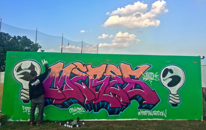 meres paints graffiti <em>All City Express</em> Premieres at Randalls Island with: Meres, Lady Pink, Toofly, See tf, Python, Jerms, Topaz and T Kid