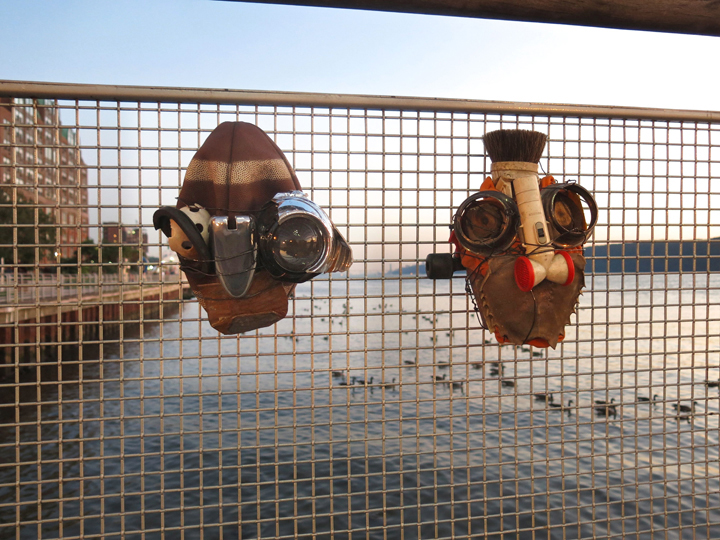 michael-cuomo-recycled-art-masks-Yonkers-waterfront