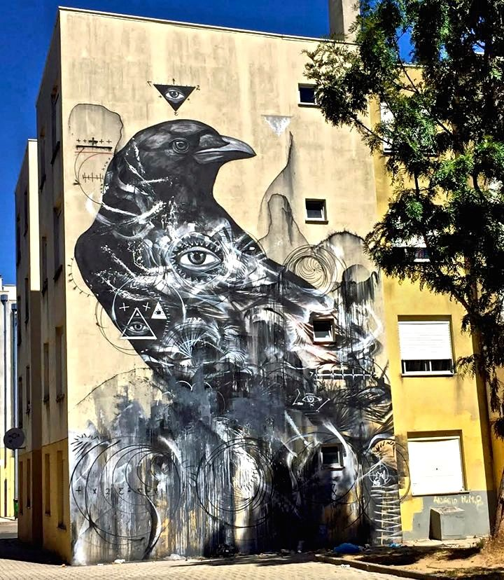17matrix street art portugal In Quinta do Mocho with L7m, Odeith, Vhils, Nomen, Ricardo Romero, Oze Arv and Violant