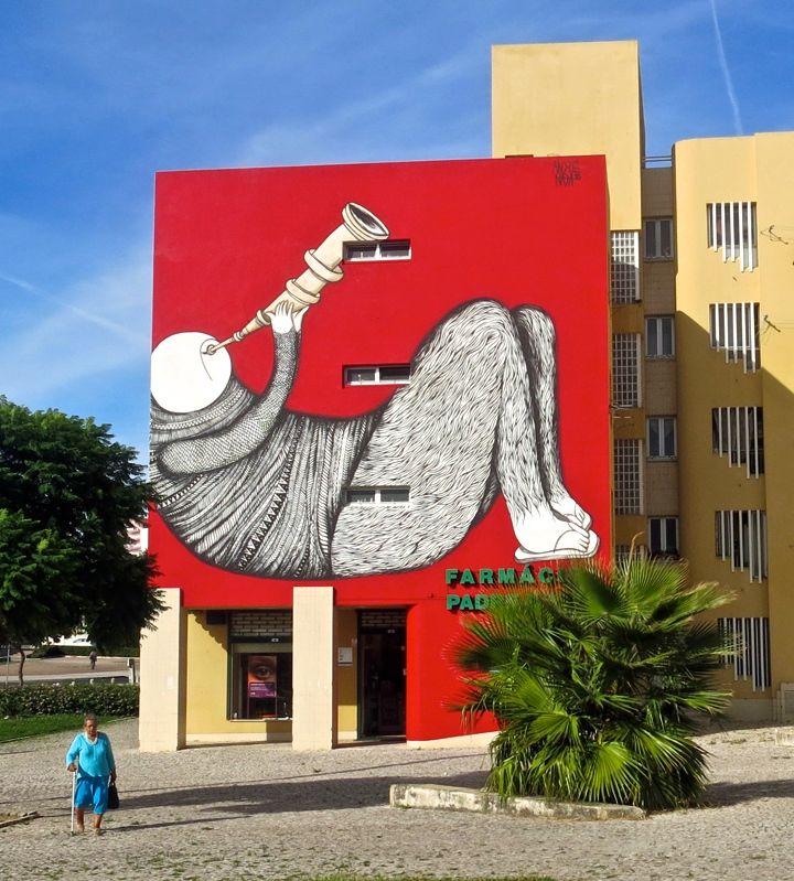 andre nada street art portugal In Bairro Padre Cruz: Miguel RAM, Borondo, TelmoMiel, Mr Dheo, Spok Brillor, André NADA, Daniel Eime and 2CarryOn
