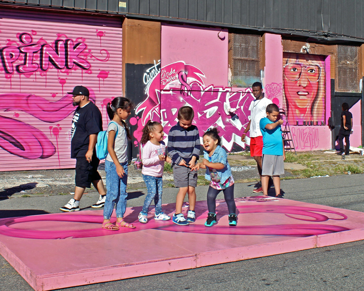 children-at-paint-for-pink-graffiti-newark-new-jersey