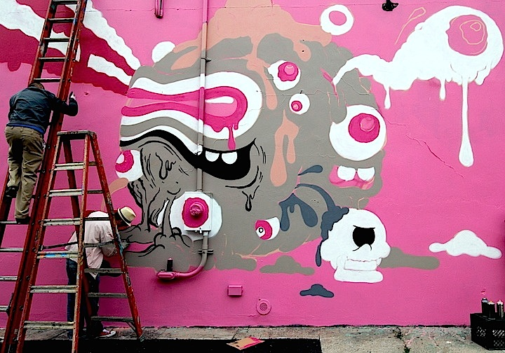 Buff Monster street art progress Bushwick Collective NYC Buff Monster on: Living in NYC, Collaborating With Brands, Celebrating Brooklyn for Miller Lites <em>Our Can, Your Canvas </em> and more