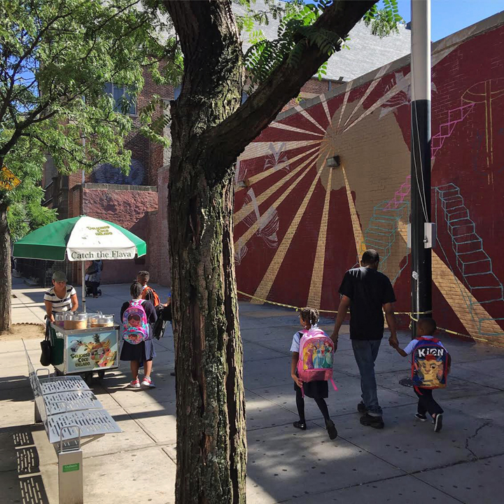 LMNOPi street art in progress Harlem  Not A Crime Campaign Refashions PS 92 in Harlem with See One, Tatyana Fazlalizadeh, Lmnopi and Marthalicia