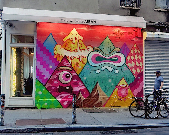 buff monster nolita street art nyc Buff Monster on: Living in NYC, Collaborating With Brands, Celebrating Brooklyn for Miller Lites <em>Our Can, Your Canvas </em> and more