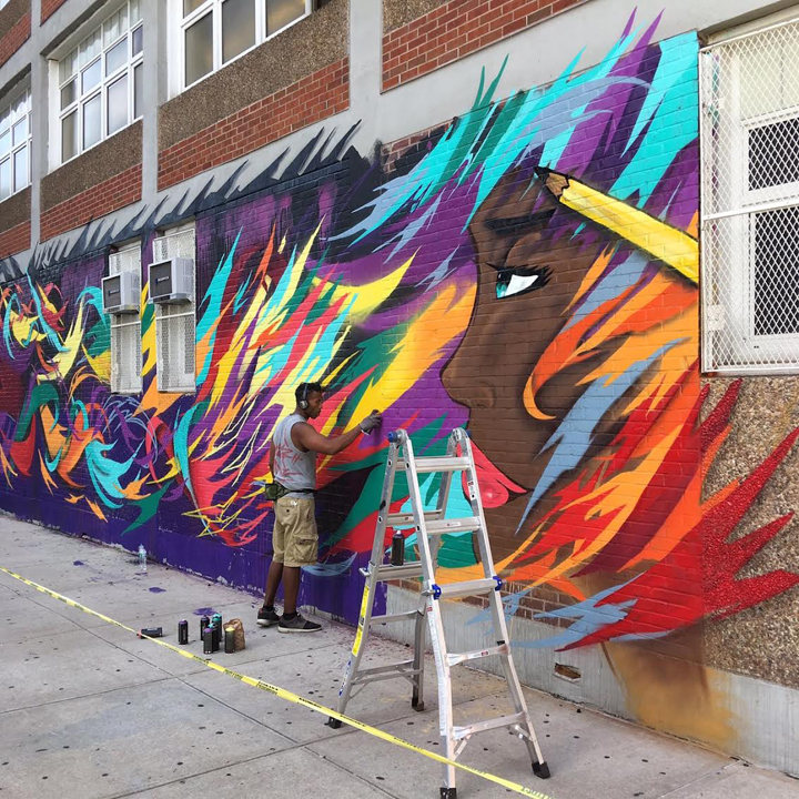 see one paints street art Harlem NYC  Not A Crime Campaign Refashions PS 92 in Harlem with See One, Tatyana Fazlalizadeh, Lmnopi and Marthalicia