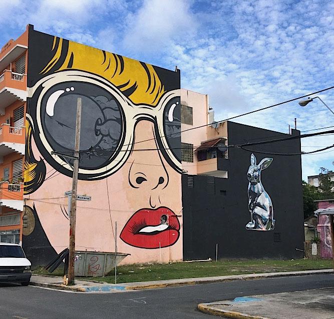 Dface BIKISMO street art Puerto Rico <em>Santurce Es Ley</em> in San Juan, Puerto Rico:  D*Face, Bik Ismo, Abey Charron, El Basta, Zio Ziegler, Morivivi, Seth, David Zayas and Pastel