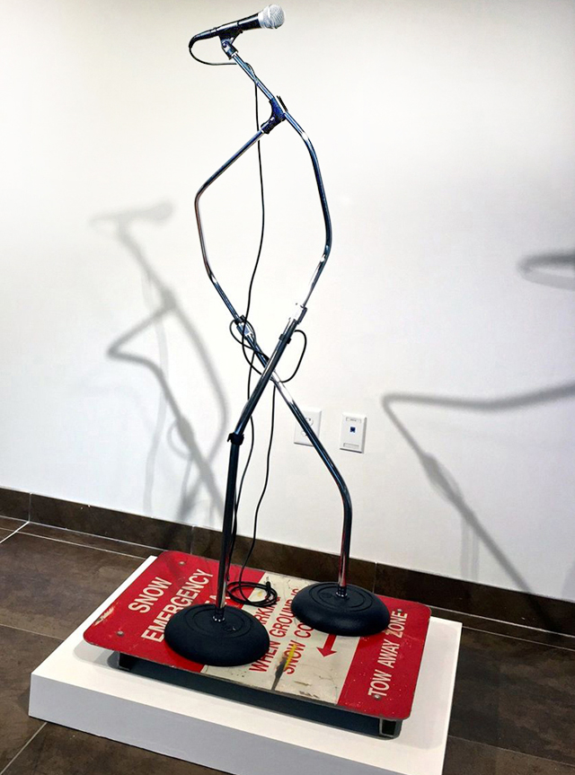 Karlos Carcamo sculpture mic <em>Hip Hop Utopia: Culture + Community</em> at Jerseys Citys Dineen Hull Gallery Through February 21