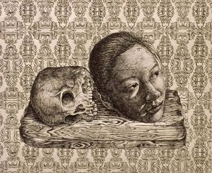 YuQing-Gu-self-portrait-with-skull-art