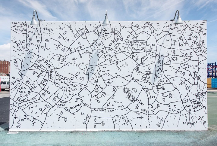 Shantell Martin mural art coney art walls NYC. New at <em>Coney Art Walls</em> for Summer 2017: Lee Quinones, Mark Bodé, Chris Stain, Skewville, Ganzeer, Alexis Diaz, Shantell Martin, Jim Drain, Crash with BR 163 and more