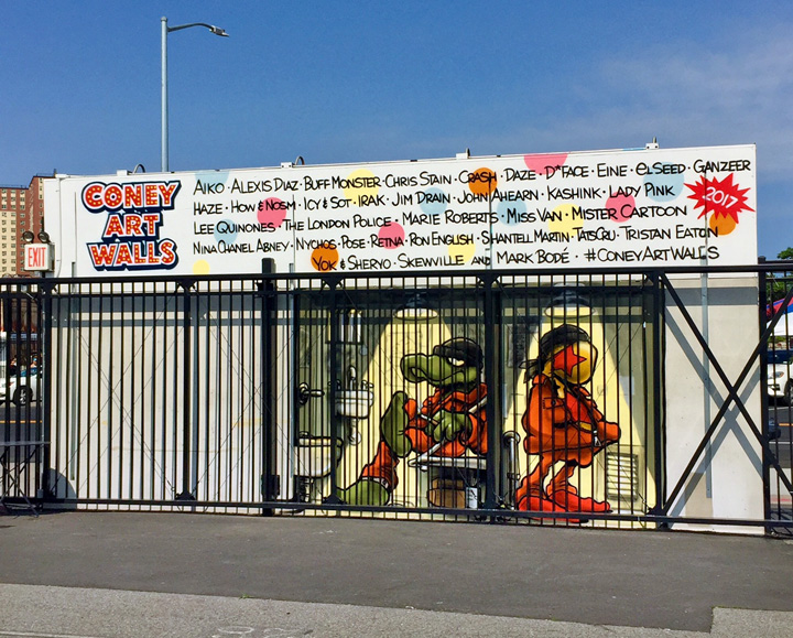 mark bode mural art coney art walls NYC New at <em>Coney Art Walls</em> for Summer 2017: Lee Quinones, Mark Bodé, Chris Stain, Skewville, Ganzeer, Alexis Diaz, Shantell Martin, Jim Drain, Crash with BR 163 and more