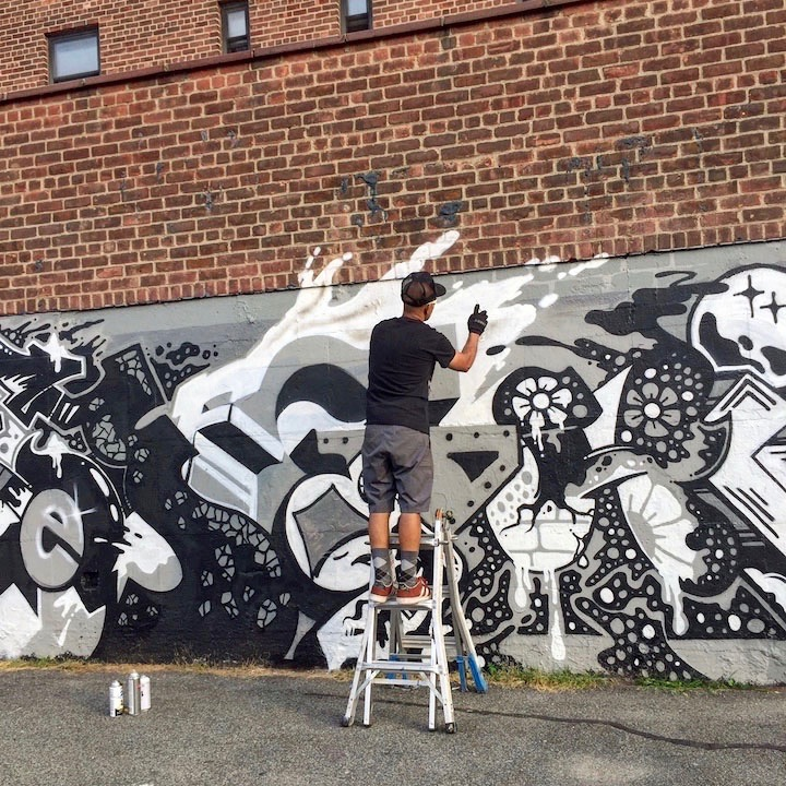 fcee paints mural art nyc Queens Artists Diego 127, FCEE and Whisper aka Chip Love Fashion a Fantastical Alphabet in Jackson Heights